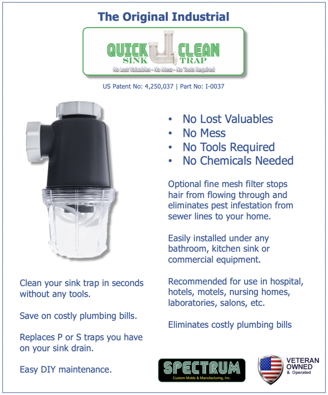 Commercial Quick Clean Sink Trap Data Sheet