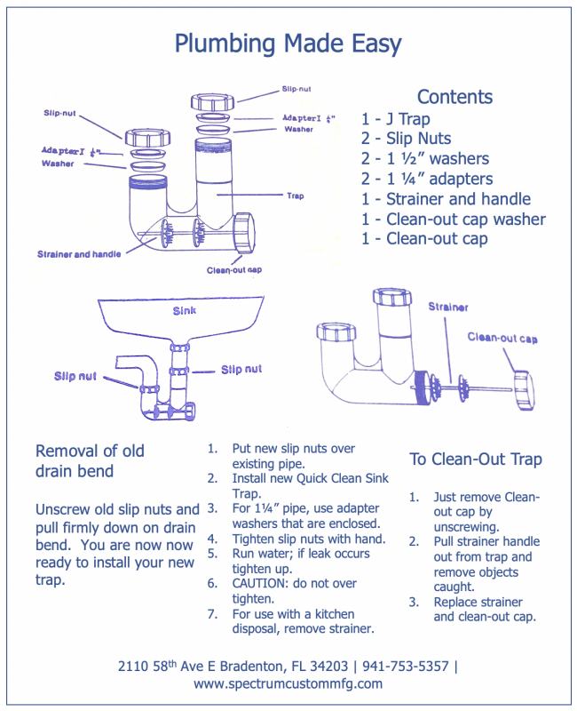 Original Quick Clean Sink Trap Exploded View Data Sheet